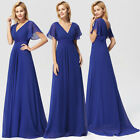 Ever-Pretty US V-neck Sapphire Blue Evening Mother Of Bride Maxi Dress 09890