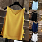 Women's Summer Sleeveless Fashion Chiffon Shirt Solid V-neck Casual Blouse Top