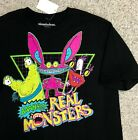 AAAHH! REAL MONSTERS T-SHIRT Black Neon Pink Yellow Retro 90s Nickelodeon ADULT image