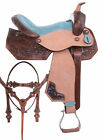 Used Western Barrel Saddle 15 16 Pleasure Trail Show Horse Blue Leather Tack