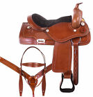 16 17 Used Western Saddle Pleasure Trail Ranch roping Tooled Hors Tack Set