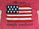 "NWT SIMPLY SOUTHERN ""American Flag Turtle s/s FREE SHIP S GIRL Patriotic"
