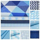 BLUE AND NAVY  100% COTTON FABRIC ZIGZAG STRIPES STARS TRIANGLES