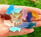 PICK COLOR 6pc 24mm small fish sea glass pendant bead frosted top drilled recycl