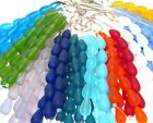 """PICK 8"""" str 16mm sea glass round drop teardrop beads frosted matte recycled"""