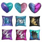 "16"" Mermaid Throw Pillow Magic Reversible Sequin Cover Glitter Sofa Cushion Case image"