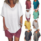 US Womens V Neck Solid Color Loose Summer Cotton Lien  Short Sleeve T-Shirt h8