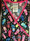 SCRUB TOP SIZES: XS, S, M, L, XL FLIP FLOPS PINK MOCK WRAP NWT NURSE MEDICAL CNA