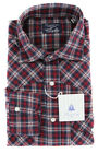 $375 Finamore Napoli Red Plaid Shirt - Slim - (LEN1174LUPZ)