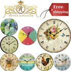 Decorative Vintage Wall Clock Battery Operated 12 Inch Non Ticking Wall Clock