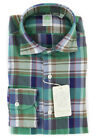 New $375 Finamore Napoli Green Plaid Shirt - Extra Slim - (FN830177)