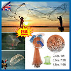 Full Spread Mesh Wire Hand Easy Throw Cast Fishing Nylon Net 2.4m-4.8m w/ Sinker