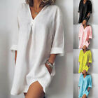 Women Loose Dresses Casual Pure Color V Neck Long Sleeved Summer Womens Dress h8
