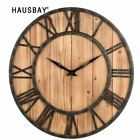 Round Wrought Iron Wall Clock American Style Solid Wood Clock Living Room Mute H
