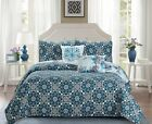 5 Piece Beautiful Madison Turquoise Reversible Design Bedspread Quilt Set image