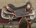 "USED 15"" NATURAL CHESTNUT HAND CARVED SILVER SHOW WESTERN LEATHER HORSE SADDLE"