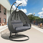 Leisuremod Outdoor Patio Wicker 2 Person Hanging Egg Swing Chair With Stand