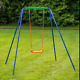 Kids Swing Single Garden Seat Metal Frame Children Outddor Play Toy Fun Activity