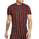 Brave Soul Mens Rock Contrast Striped Crew Neck Short Sleeve Cotton T-Shirt Top