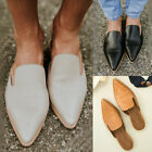 Women's Low Heel PU Leather Slippers Pointed Toe Mule Sandals Shoes Fashion New