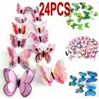 12/24pcs 3d Butterfly Shaped Decal Art Wall Stickers Room Decorations Home Kits