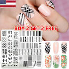 NICOLE DIARY Nail Stamping Plates Flower Geometric Overprint Nail Art Stamp Tips