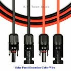 New 1 Pair Black + Red Solar Panel Extension Cable Wire Connector 12/10 Awg