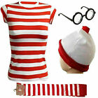New Ladies Mens Licensed Wheres Wally Kit Strips Fun Stag Do Fancy Dress XS-3XL