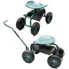 Garden Cart Rolling Swivel Work Seat Planting Gardening Trolley With Tool Tray