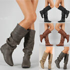 Women Knee High PU Leather Flat Boots Ladies Mid-calf Biker Slouch Boots Shoes for sale  Shipping to Canada