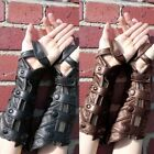 Unisex Leather Layered Scales Bracers Mittens Steampunk Snaps Fingerless Gloves