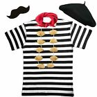 New Mens French Man Stag party costume French 5 PC SET waiter fancy dress outfit