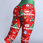 US Women's Sport Pants Christmas Print Leggings High Waist Hip Yoga Pant 03