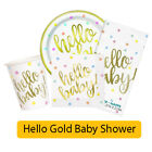 HELLO BABY Baby Shower GOLD FOIL Stamped Party Range - Tableware Decorations
