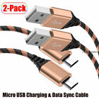 2-Pack Micro USB Cable Fast Charging Data Sync Cord For Samsung Android LG Phone