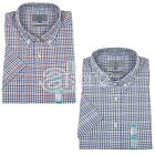 Mens Top Store Short Sleeve Shirt Peached Pure Cotton Checked Smart Casual M S
