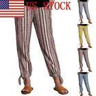 US Womens Ladies Lin Striped Loose Pants Casual Baggy Running Bottoms Trosuer 03