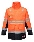 New Anti Static Polyester Flame Retardant Arc Rated Long Line Jacket ORANGE NAVY