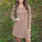 Womens Long Sleeve Knit Sweater Party Casual Jumper Mini Dress Winter Autumn