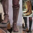 Men Vintage Knight Knee High Lace Up Steampunk Faux Leather Tall Boots Medieval