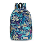 Women Floral Leaves Zip Up Canvas Backpack Shoulder Bag Rucksack Outdoor Bags