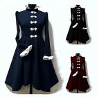 Women Steampunk Vintage Jacket Gothic Victorian Frock Dress Uniform Costume Coat