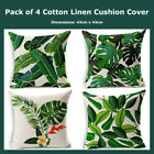 Pack Of 4 Tropical Themed Linen Cotton Cushion Covers Decorative Pillow Cases