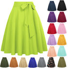 Women Solid Bow Knot High Waist Dress Skater Flared A-Line Pleated Swing Skirt