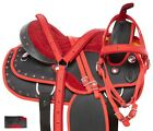 Blingy Red Crystal Western Trail Barrel Racing Saddle Horse Tack 15 16 17 18 in