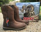 NEW Mens Rocky CODY Brown Leather Waterproof Roper Western Work Boots RKW0235