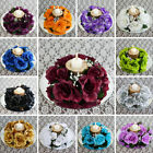 24 Artificial ROSES FLOWERS CANDLE RINGS Centerpieces Wedding Party Flowers SALE