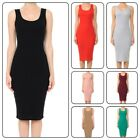 Women's Basic Tank Bodycon Sleeveless Solid Casual Long Dress