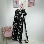 Dubai Abaya Muslim Women Open Front Cardigan Islamic Long Maxi Dress Robe Kaftan