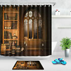 Halloween Wizard's Library Books and Candles Shower Curtain Set Bathroom Decor